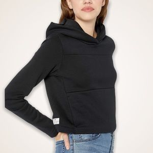 Hurley Skate Crop Fleece Hoodie Womens Black NWT